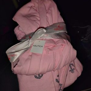 Nautica Women's LS Flannel Pink Anchor Pajama Set
